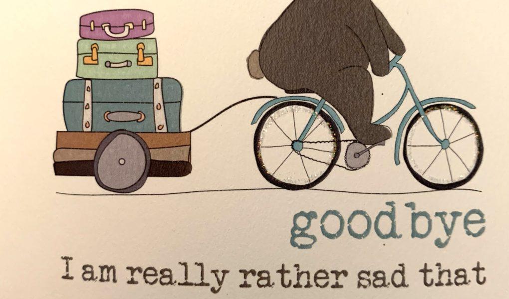 bear riding a bicycle saying goodbye