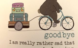 bear riding a bicycle saying goodbye